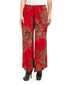 Loving these Red & Green Floral Linen-Blend Palazzo Pants - Women
