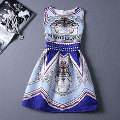 2015 new summer European style printing slim sleeveless women's dress Fashionable high end ladies retro dress free shiiping-in Dresses from Women's Clothing & Accessories on Aliexpress.com | Alibaba Group