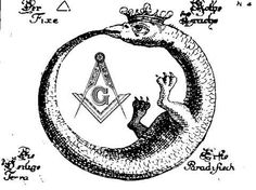 "This symbol is also called, ""Ouroboros"", but its meaning is deeper.  ""This snake, sometimes called the Ouroboros, is a symbol of Time, from which alone Wisdom springs.  The snake encircles the two symbols of the extremes of created life -- the child and the death-symbol of the skull.  Between them, the child and skull are intended to symbolize the 'beginning and then end'.  As a whole, the emblem may be interpreted as meaning, 'In the end, is my beginning', or 'The End is Found in the…"
