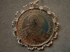 Anhänger antik Silbermünze 800 RUDOLPHUS II REX Trachtenschmuck