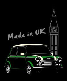 Mini Cooper Classic T Shirt British Layland Vintage Mini tee -  ©BurnTheBeans design