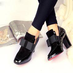 Nuevo 100% REAL PHOTO Inferiores Rojos únicos zapatos de tacón alto dedo del pie cuadrado de cuero genuino zapatos de las mujeres de las señoras negro Sexy chaussure femme