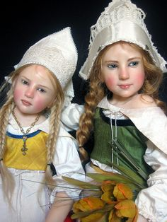 Dolls in Dutch Costume by doll artist Jamie Williamson