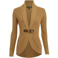 Lauren by Ralph Lauren Audey shawl collar cardigan ($93) ❤ liked on Polyvore featuring tops, cardigans, sweaters, casacos, jackets, women, cotton cardigan, wrap cardigan, brown cardigan and brown tops