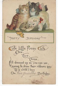 Pussy Cats Kittens Birthday Greeting Antique Postcard N310 | eBay