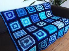 Blue Crochet Blanket Blue Afghan Blanket   Etsy Grey Throw Blanket, Pink Blanket, Afghan Blanket, Blanket Crochet, Crochet Stitches, Crochet Patterns, Granny Square Blanket, Granny Square Crochet Pattern, Crochet Box