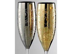 EISCH GLASKULTUR Sektgläser/Champagnerglas Exklusiv gold - 2 Stück im Geschenkk.
