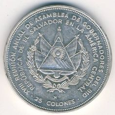 El Salvador 25 colones Silver coin