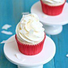 White Coconut Cupcakes with Coconut Swiss Meringue Buttercream.  A coconut lover's dream!