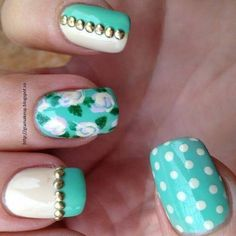 blue floral and polka dots
