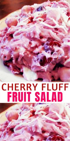 """Cherry Fluff Marshmallow Fruit Salad Recipe! Marshmallow salads are a comforting dessert, often found at large gatherings. Today I am sharing a delicious Cherry Marshmallow Salad, also titled """"Heavenly Pink Salad,"""" that I found at AllRecipes. It makes A LOT. If you are making this for a family, I would suggest cutting the recipe in half."""