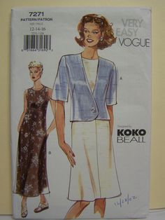 UNcut 2001 Very Easy VOGUE 7271 KOKO BEALL Design Jacket & Dress Pattern sz 12-14-16 by RaggsPatternStash on Etsy