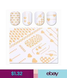 Nail Art Accessories Gilding Water Decal Gold Heart Nail Art Manicure Transfer Sticker Diy Decoration #ebay #Fashion