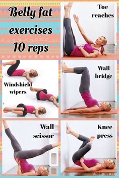 To lose belly fat, do the exercises shown in the pic 10 times each 5 times a week. Google the names to find out how to do it.