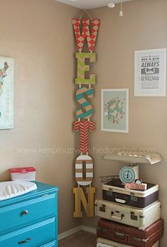 Love this! DIY - painted name letters, hung Vertically vs Horizontally