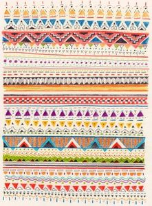 A very colourful aztec print. It would make a lovely bin design! #pattern #style