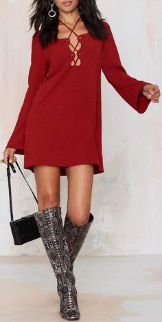 Mercedes Binge Lace-Up Dress - Burgundy