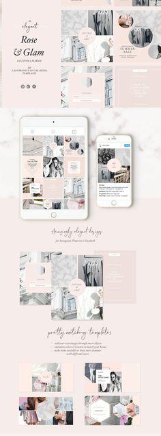 Feminine Social Media Templates by Laras Wonderland on @creativemarket #ad #affiliatelink #affiliate #font #design #templates #blogger #blog #creative #feminine #girlboss #instagram #socialmedia