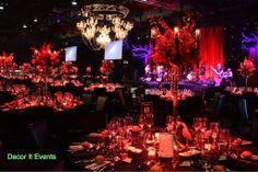 Masquerade centerpieces, red floral,candelabra, crystal chandelier, peninsula Atlantic group  www.decorit.com.au
