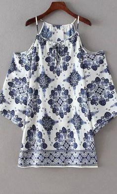 tile print cold shoulder top