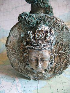 DAKINI Altered Art Bottle. Handmade woman's face, antique lace, antique metal stopper, skulls, roses