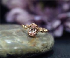 Fancy Vintage Stackable Engagement Ring Natural Pink by NidaRings