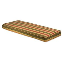 Outdoor 48 Bench Cushion with Sunbrella Fabric - Stripes (Light Brown/Canvas), Outdoor Cushion