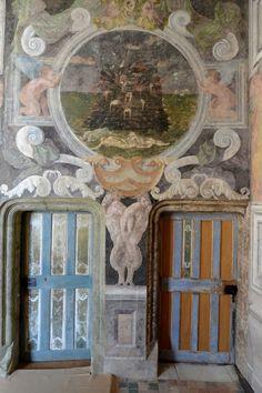 architecture française : château d'Oiron, Poitou, France, peinture décorative intérieure, 16e siècle
