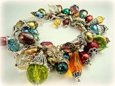 Cha cha bracelet chunky charm bracelet statement by strandsofgrace