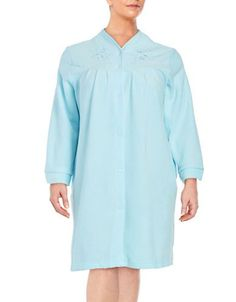 Miss Elaine Plus Snap Front Terry Robe Women's Turquoise 3X