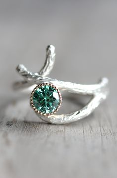 Branch Green Moissanite Ring