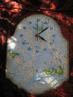 Заготовка ЧАСЫ: «Просто синички» http://dcpg.ru/blogs/5228/ Click on photo to see more! Нажмите на фото чтобы увидеть больше! decoupage art craft handmade home decor DIY do it yourself clock Materials and techniques: napkin acrylic paint etc.