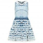 Diesel Girls Faded Blue Freyed Denim Layered Dress