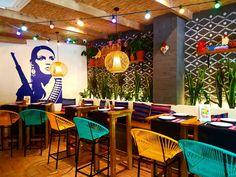 Mexican Restaurant Design, Mexican Interior Design, Coffee Shop Interior Design, Deco Restaurant, Restaurant Interior Design, Cafe Design, Bar Mexicano, Back Bar Design, Outdoor Restaurant Patio