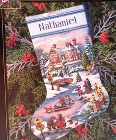 New Winters Twilight Christmas Stocking Counted Cross Stitch Kit Gold Collection | eBay