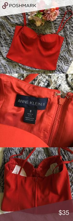 🆕 Listing! Vintage cropped bustier Beautiful red cropped bustier from Anne Klein II.  Vintage, made by ILGWU (International Ladies Garment Workers Union).  In excellent to like new condition.  Zippers all the way down the back.  This does not fit me, I cannot model and couldn't find any pics of it online.  I think the cup size fits around a B.  Size 8 Anne Klein Tops Crop Tops