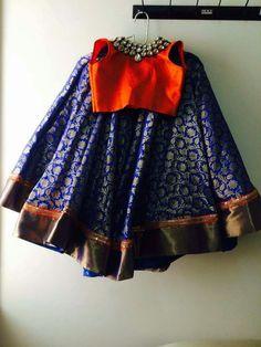 Royal Blue Lehenge Orange Blouse - Indian Dresses Informations About Royal Blue. Girls Frock Design, Kids Frocks Design, Baby Frocks Designs, Frocks For Girls, Dresses Kids Girl, Kids Outfits, Kids Lehenga Choli, Anarkali, Kids Lehanga