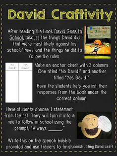 For the Love of First Grade: classroom management David Goes to School lead in to class expectations