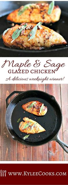 Sweet with a touch of citrus and salt, the flavor of these chicken breasts was outstanding. Topped with some sage and crunchy toasted pecans, this is a delicious weeknight winner.
