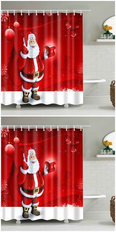 Santa Claus Waterproof Christmas Decor Bath Shower Curtain