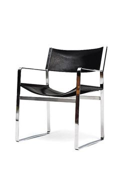 Hans Wegner; #JH812 Chromed Steel and Leather Armchair for Johannes Jansen, c1970.