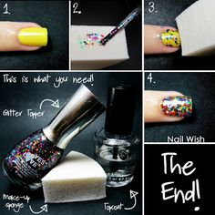"Nail Wish: Glitter Sponging Tutorial. Now get an ""opaque"" layer of glitter without the messy thickness of multiple coats!"