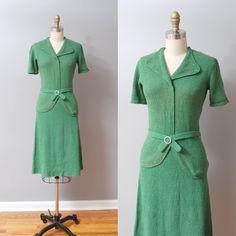1940s Dress  Knit 2 Piece Green 40s Dress by OldFaithfulVintage
