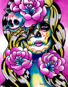 Day of the Dead Sugar Skull Girl  Wash Away Art by NeverDieArt, $10.00