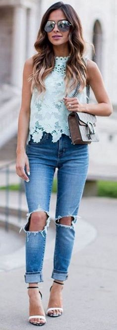 #spring #summer #highstreet #outfitideas | Mint Lace Top + Denim                                                                             Source
