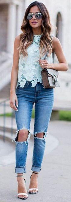#spring #summer #highstreet #outfitideas |Mint Lace Top + Denim                                                                             Source