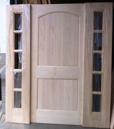 Solid Maple Wood Front Exterior Entry Door With Glass Sidelights 83.5. Love  The Solid Door