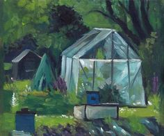 "Daily Paintworks - ""Greenhouse at the Allotments"" - Original Fine Art for Sale - © J M Needham"