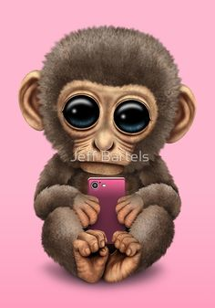 Cute Baby Monkey Holding a Pink Cell Phone | Jeff Bartels