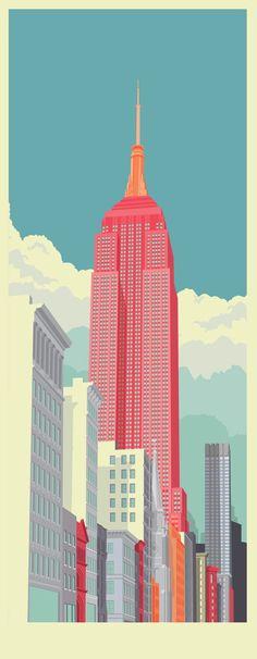 Coloridas ilustrações da arquitetura de Nova York